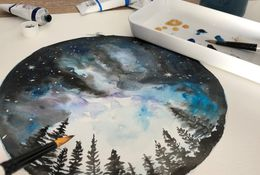 Galaxy Night in Watercolour